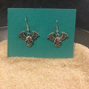 Skull with Bat Wings Dangle Earrings / 3 for $15
